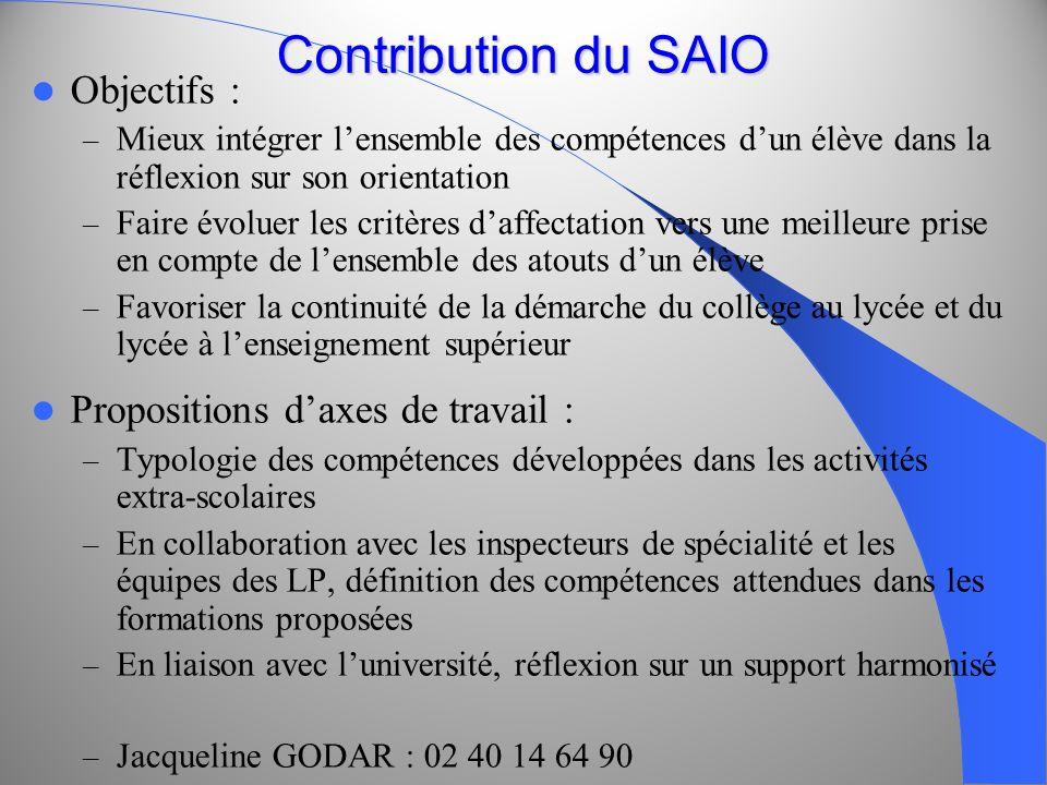 Contribution du SAIO Objectifs : – Mieux intégrer lensemble des compétences dun élève dans la réflexion sur son orientation – Faire évoluer les critèr