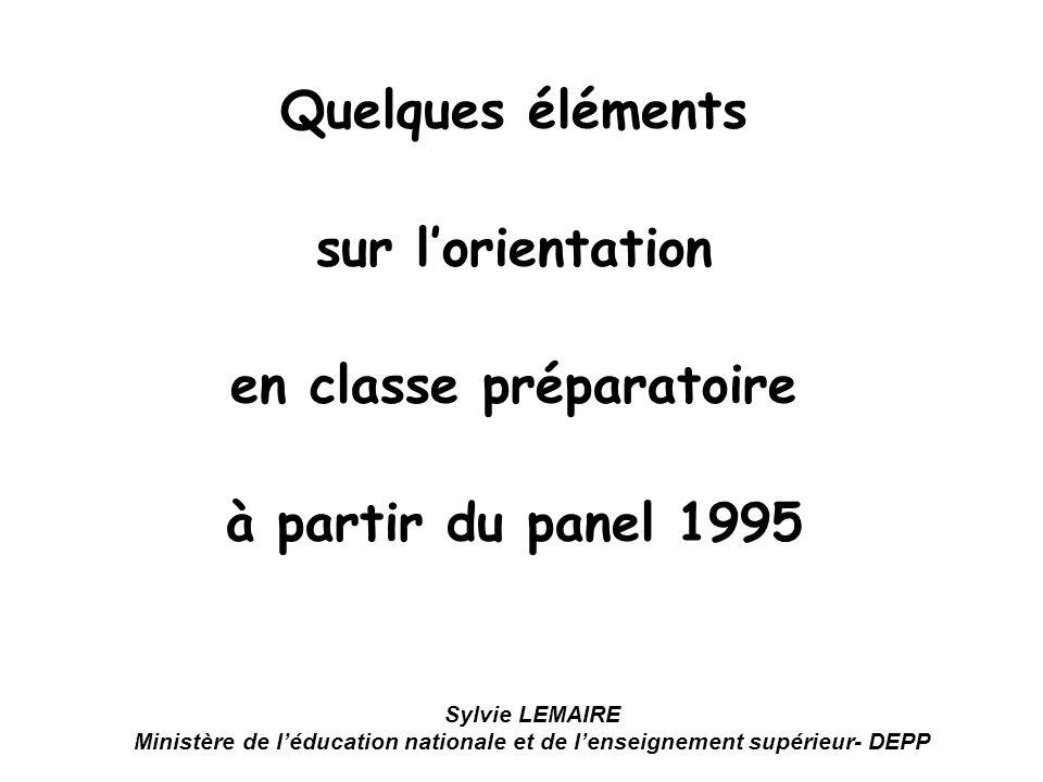 Quelques éléments sur lorientation en classe préparatoire à partir du panel 1995 Sylvie LEMAIRE Ministère de léducation nationale et de lenseignement supérieur- DEPP