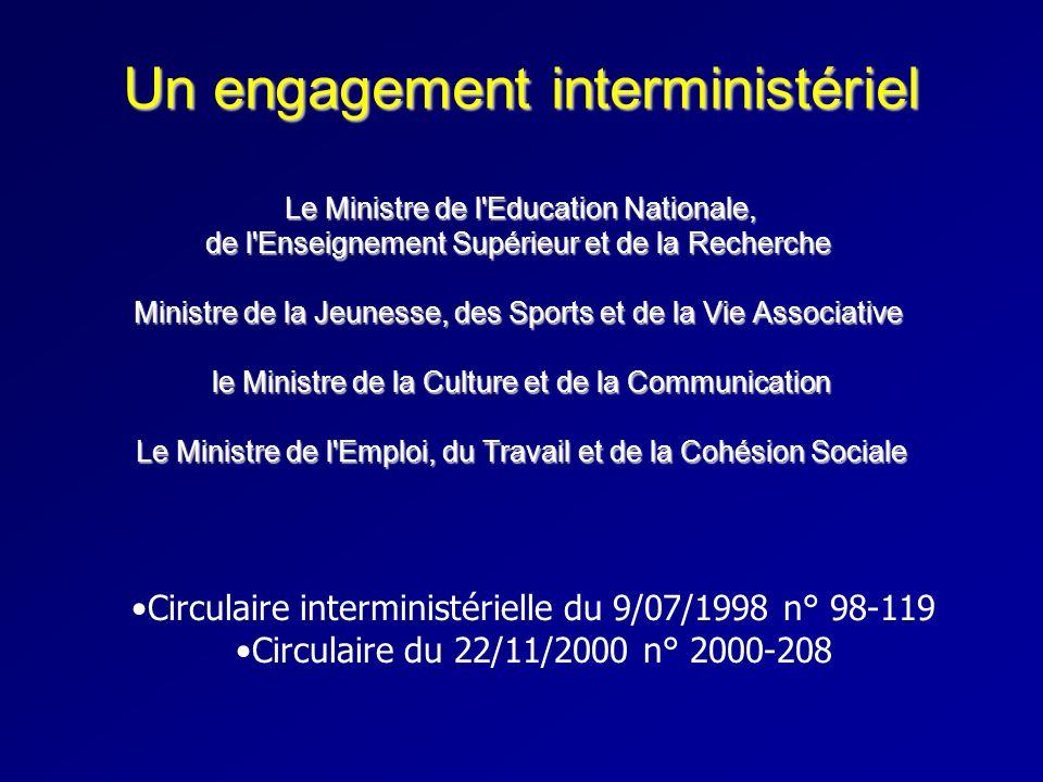 Un engagement interministériel Le Ministre de l'Education Nationale, de l'Enseignement Supérieur et de la Recherche Ministre de la Jeunesse, des Sport