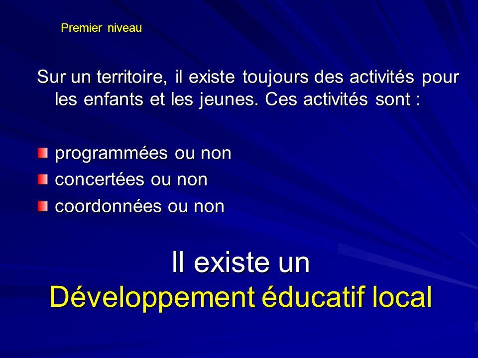 Premier niveau Sur un territoire, il existe toujours des activités pour les enfants et les jeunes. Ces activités sont : programmées ou non concertées
