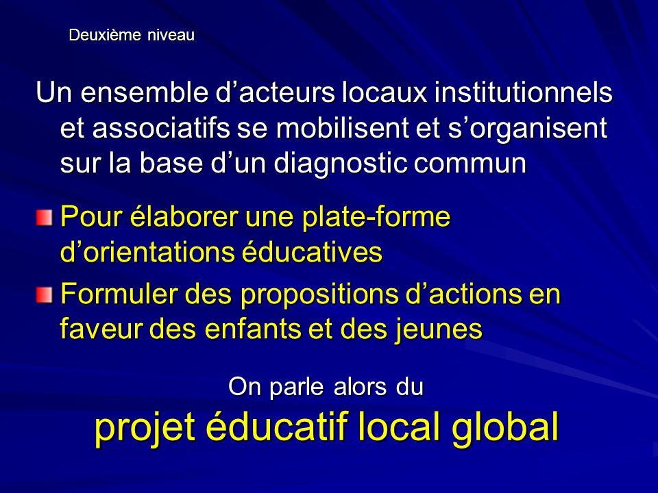 Si ces différents acteurs sengagent au regard du projet éducatif local global et formalisent cet engagement Troisième niveau Cest le Contrat Educatif Local