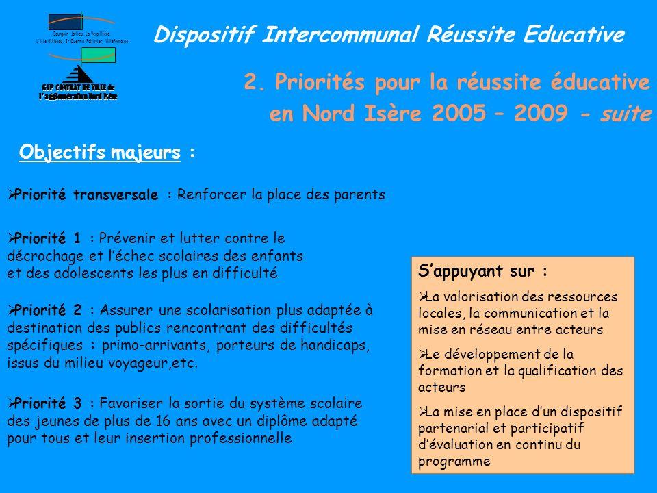 2. Priorités pour la réussite éducative en Nord Isère 2005 – 2009 - suite GIP CONTRAT DE VILLE de lagglomération Nord Isère Bourgoin Jallieu, La Verpi
