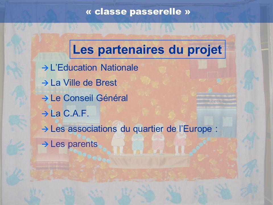 LEducation Nationale La Ville de Brest Le Conseil Général La C.A.F. Les associations du quartier de lEurope : Les parents « classe passerelle » Les pa
