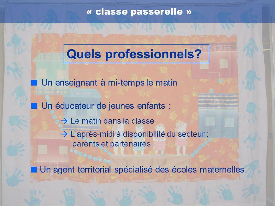 Un enseignant à mi-temps le matin Un éducateur de jeunes enfants : Le matin dans la classe Laprès-midi à disponibilité du secteur : parents et partena
