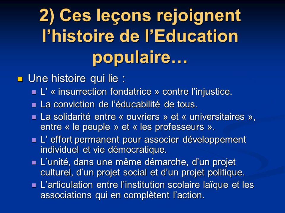 2) Ces leçons rejoignent lhistoire de lEducation populaire… Une histoire qui lie : Une histoire qui lie : L « insurrection fondatrice » contre linjustice.