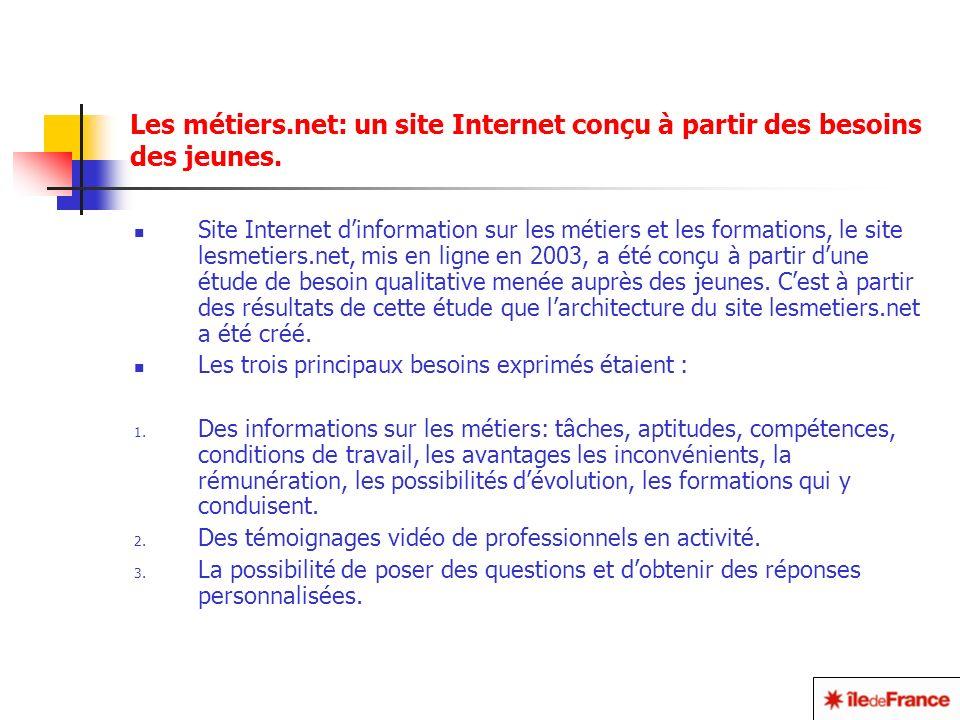 Les métiers.net: un site Internet conçu à partir des besoins des jeunes.