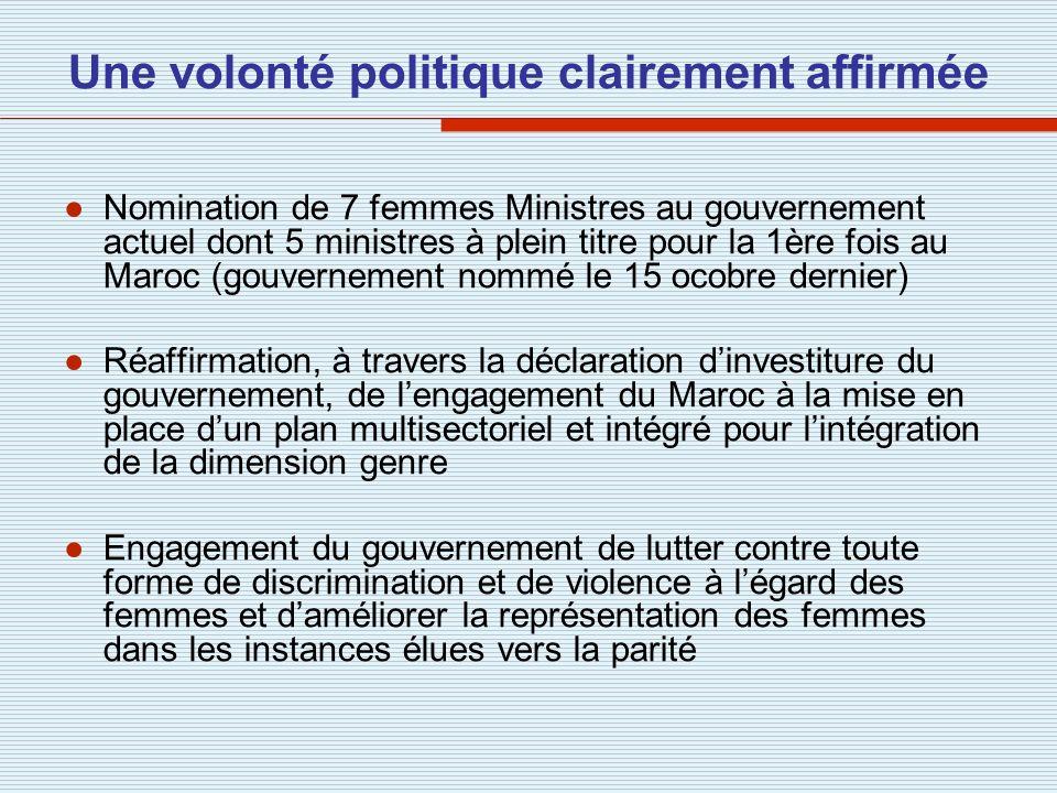 Une volonté politique clairement affirmée Nomination de 7 femmes Ministres au gouvernement actuel dont 5 ministres à plein titre pour la 1ère fois au