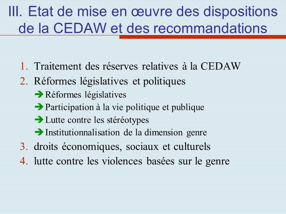 III. Etat de mise en œuvre des dispositions de la CEDAW et des recommandations 1. Traitement des réserves relatives à la CEDAW 2. Réformes législative