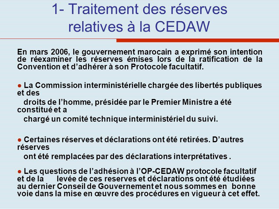 1- Traitement des réserves relatives à la CEDAW En mars 2006, le gouvernement marocain a exprimé son intention de réexaminer les réserves émises lors