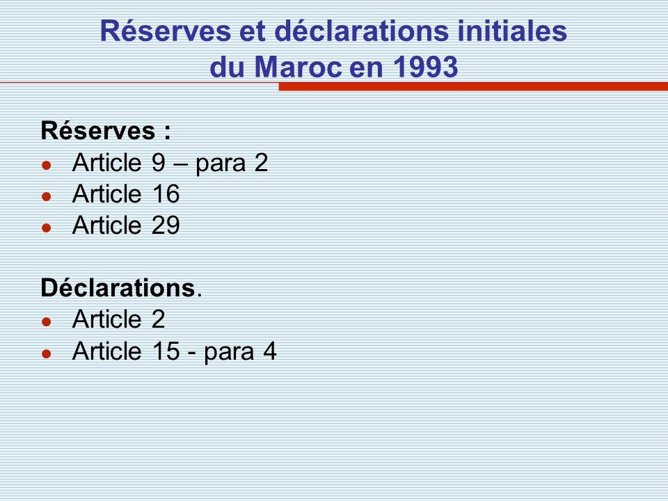 Réserves et déclarations initiales du Maroc en 1993 Réserves : Article 9 – para 2 Article 16 Article 29 Déclarations. Article 2 Article 15 - para 4