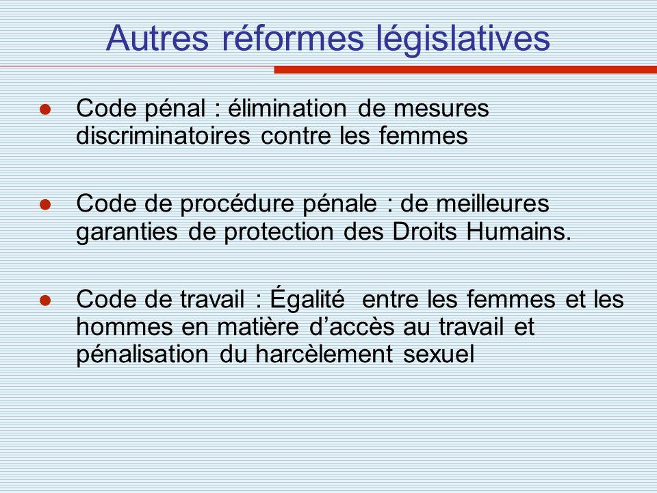 Autres réformes législatives Code pénal : élimination de mesures discriminatoires contre les femmes Code de procédure pénale : de meilleures garanties