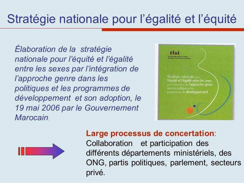 Stratégie nationale pour légalité et léquité Élaboration de la stratégie nationale pour léquité et légalité entre les sexes par lintégration de lappro