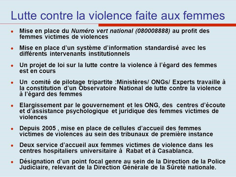 Lutte contre la violence faite aux femmes Mise en place du Numéro vert national (080008888) au profit des femmes victimes de violences Mise en place d