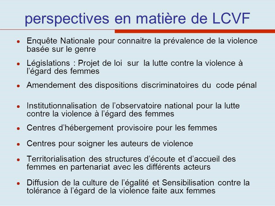 perspectives en matière de LCVF Enquête Nationale pour connaitre la prévalence de la violence basée sur le genre Législations : Projet de loi sur la l