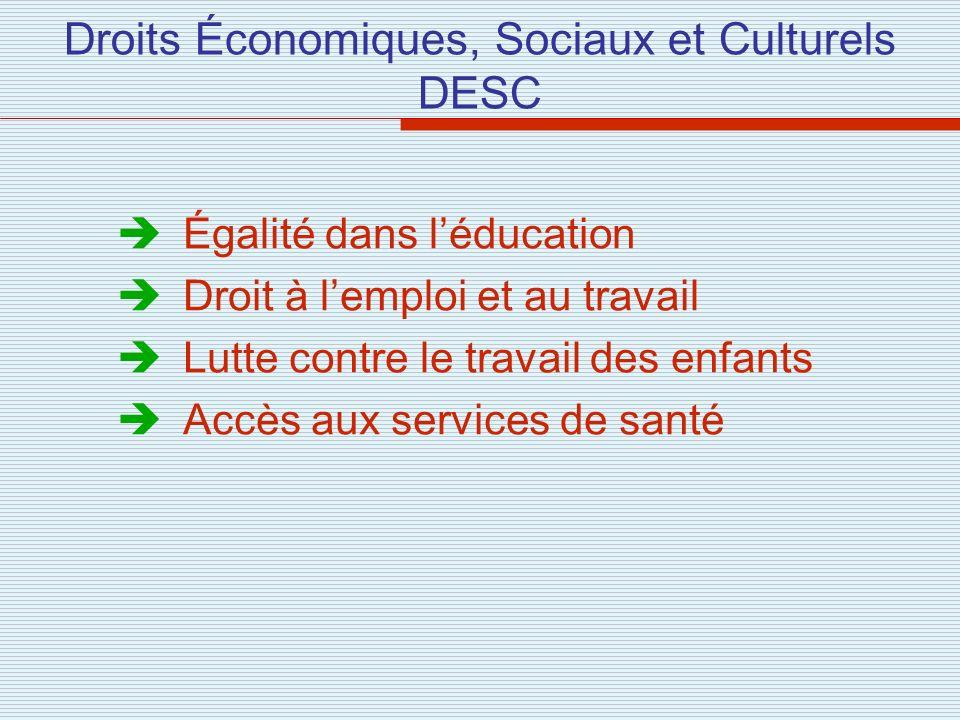 Droits Économiques, Sociaux et Culturels DESC Égalité dans léducation Droit à lemploi et au travail Lutte contre le travail des enfants Accès aux serv