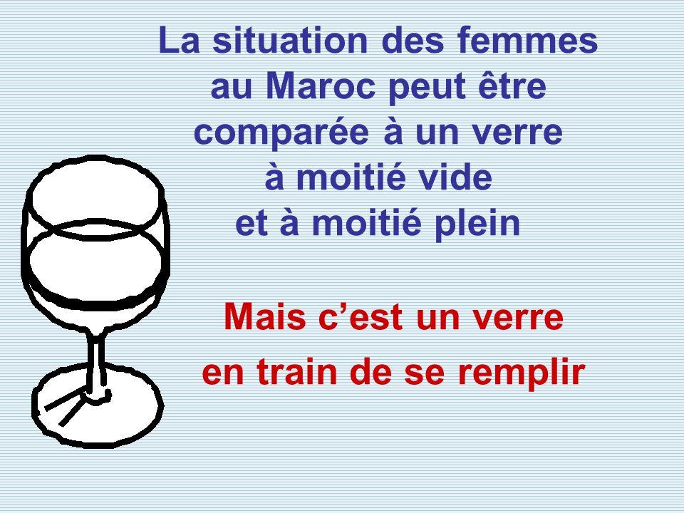 La situation des femmes au Maroc peut être comparée à un verre à moitié vide et à moitié plein Mais cest un verre en train de se remplir