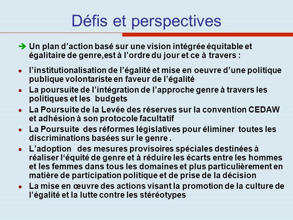 Défis et perspectives Un plan daction basé sur une vision intégrée équitable et égalitaire de genre,est à lordre du jour et ce à travers : linstitutio