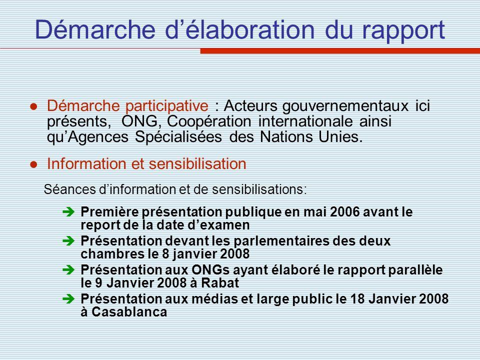 Démarche délaboration du rapport Démarche participative : Acteurs gouvernementaux ici présents, ONG, Coopération internationale ainsi quAgences Spécia