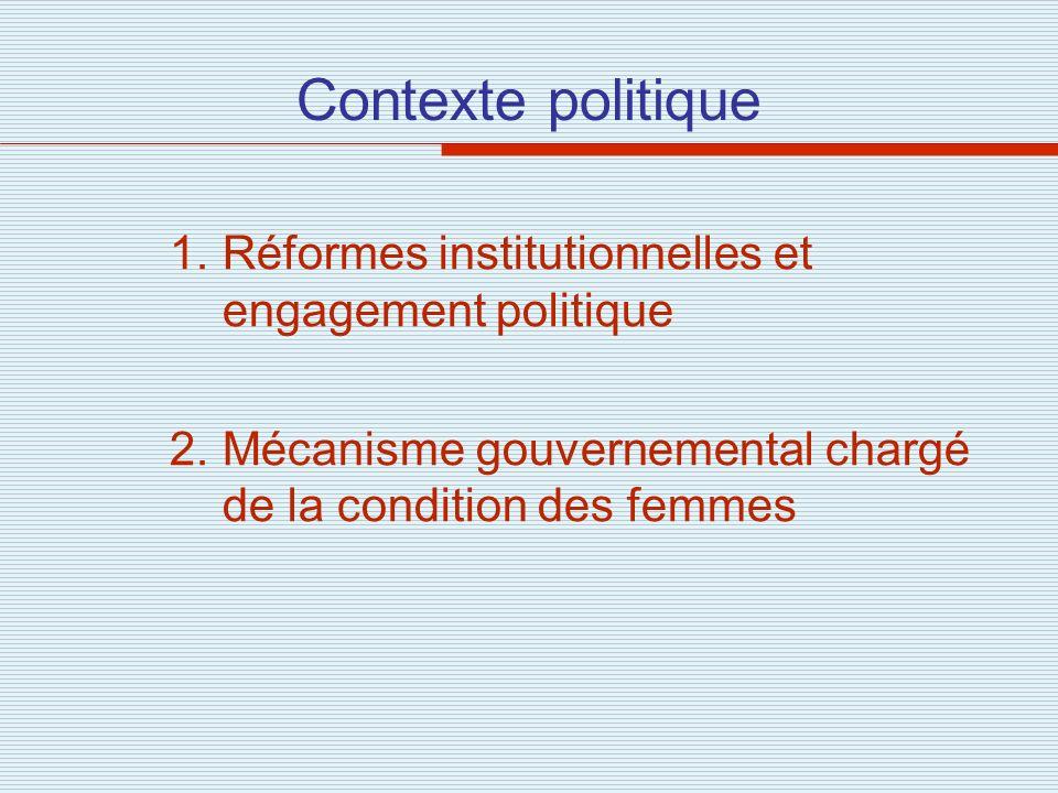 Contexte politique 1.Réformes institutionnelles et engagement politique 2.Mécanisme gouvernemental chargé de la condition des femmes