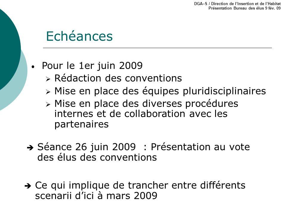 Echéances DGA–S / Direction de lInsertion et de lHabitat Présentation Bureau des élus 9 fév. 09 Pour le 1er juin 2009 Rédaction des conventions Mise e