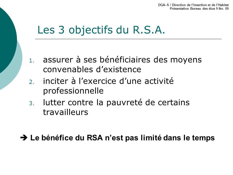 Les 3 objectifs du R.S.A. 1. assurer à ses bénéficiaires des moyens convenables dexistence 2. inciter à lexercice dune activité professionnelle 3. lut