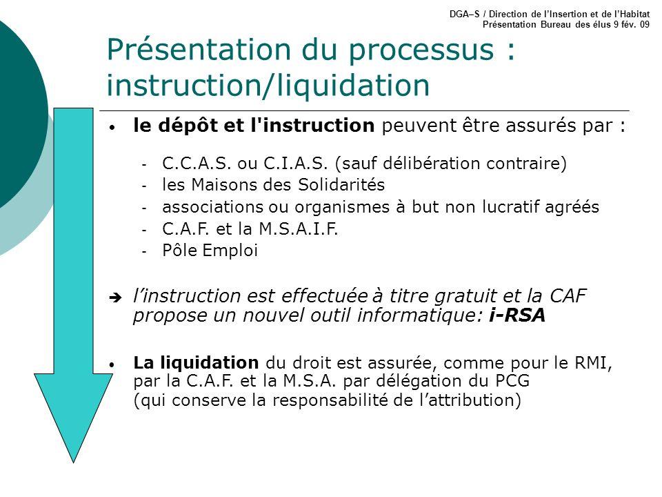 Présentation du processus : instruction/liquidation DGA–S / Direction de lInsertion et de lHabitat Présentation Bureau des élus 9 fév. 09 le dépôt et