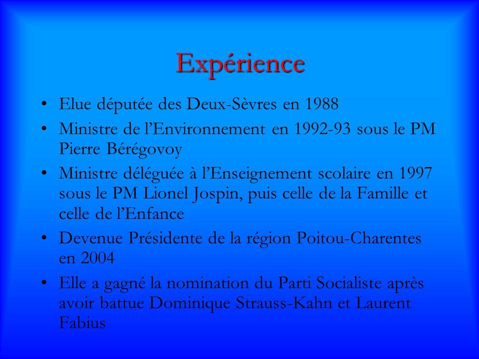 Expérience Elue députée des Deux-Sèvres en 1988 Ministre de lEnvironnement en 1992-93 sous le PM Pierre Bérégovoy Ministre déléguée à lEnseignement scolaire en 1997 sous le PM Lionel Jospin, puis celle de la Famille et celle de lEnfance Devenue Présidente de la région Poitou-Charentes en 2004 Elle a gagné la nomination du Parti Socialiste après avoir battue Dominique Strauss-Kahn et Laurent Fabius
