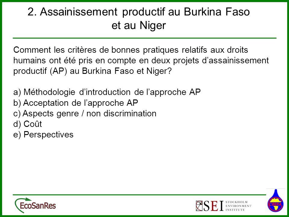 2. Assainissement productif au Burkina Faso et au Niger Comment les critères de bonnes pratiques relatifs aux droits humains ont été pris en compte en