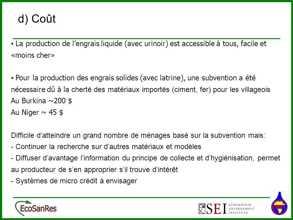 La production de lengrais liquide (avec urinoir) est accessible à tous, facile et «moins cher» Pour la production des engrais solides (avec latrine),