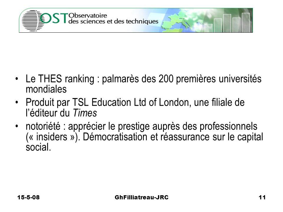 15-5-08GhFilliatreau-JRC11 Le THES ranking : palmarès des 200 premières universités mondiales Produit par TSL Education Ltd of London, une filiale de léditeur du Times notoriété : apprécier le prestige auprès des professionnels (« insiders »).
