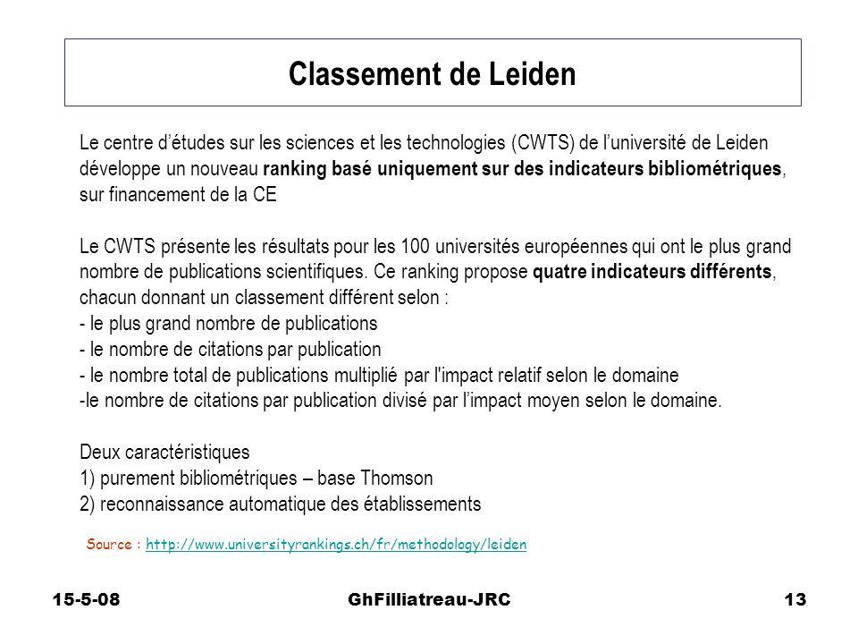 15-5-08GhFilliatreau-JRC13 Classement de Leiden Source : http://www.universityrankings.ch/fr/methodology/leidenhttp://www.universityrankings.ch/fr/met