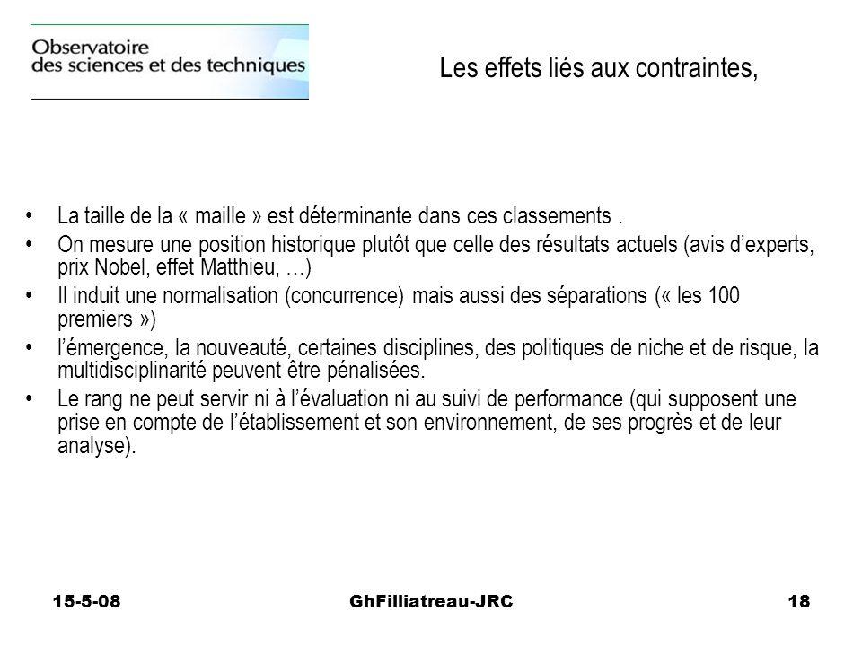 15-5-08GhFilliatreau-JRC18 La taille de la « maille » est déterminante dans ces classements. On mesure une position historique plutôt que celle des ré