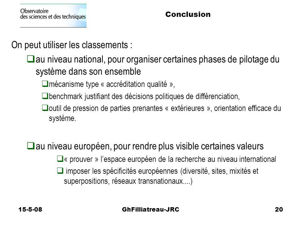 15-5-08GhFilliatreau-JRC20 On peut utiliser les classements : au niveau national, pour organiser certaines phases de pilotage du système dans son ensemble mécanisme type « accréditation qualité », benchmark justifiant des décisions politiques de différenciation, outil de pression de parties prenantes « extérieures », orientation efficace du système.