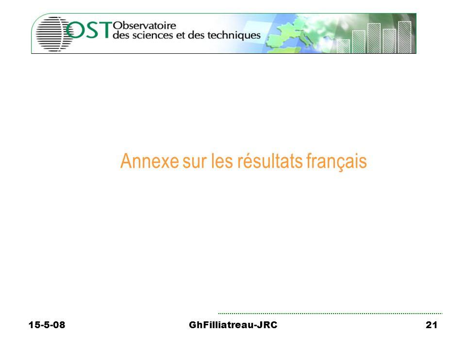 15-5-08GhFilliatreau-JRC21 Annexe sur les résultats français