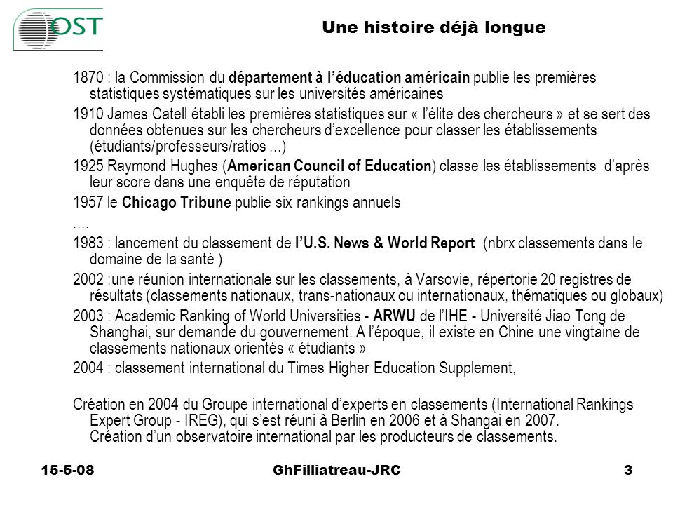 Exemples de classements pour usager Auteur ------------------- Asiaweek * CHE/Stern Good Guides The Guardian Macleans Melbourne Institute Perspektyw U.S.