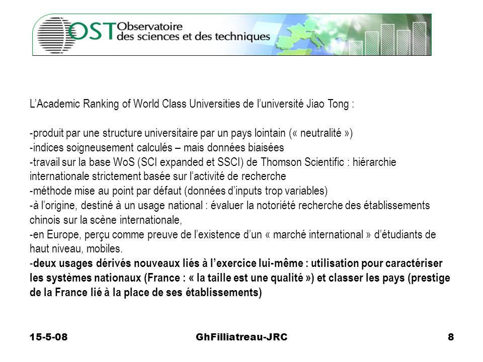 15-5-08GhFilliatreau-JRC8 LAcademic Ranking of World Class Universities de luniversité Jiao Tong : -produit par une structure universitaire par un pay