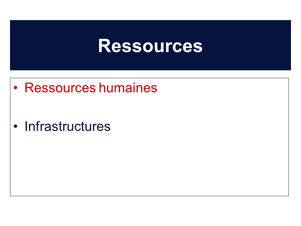 Ressources Ressources humaines Infrastructures