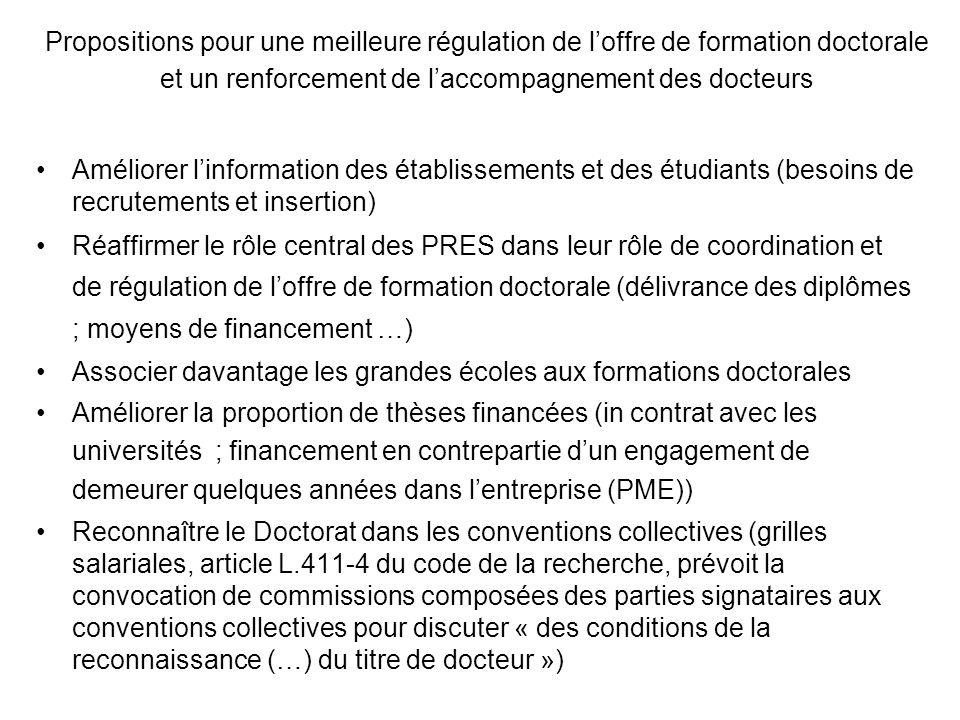 Propositions pour une meilleure régulation de loffre de formation doctorale et un renforcement de laccompagnement des docteurs Améliorer linformation