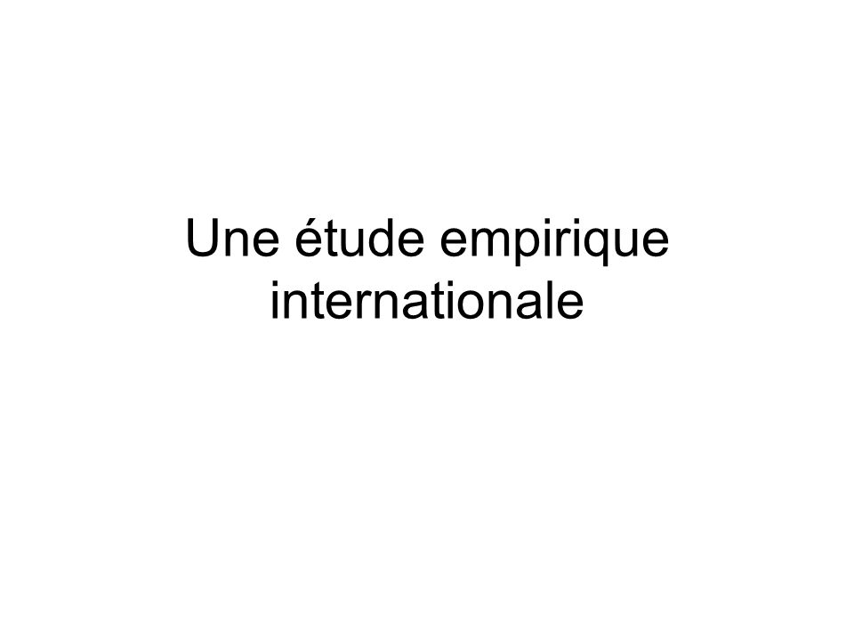 Une étude empirique internationale
