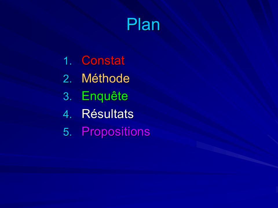 Plan 1. Constat 2. Méthode 3. Enquête 4. Résultats 5. Propositions