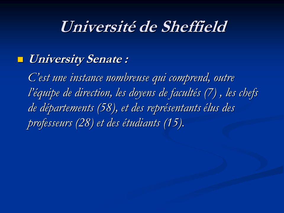 Université de Sheffield University Senate : University Senate : Cest une instance nombreuse qui comprend, outre léquipe de direction, les doyens de fa