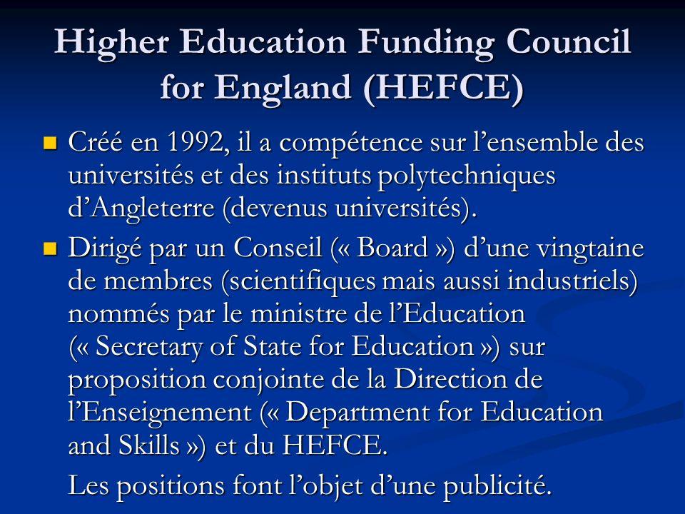 Higher Education Funding Council for England (HEFCE) Créé en 1992, il a compétence sur lensemble des universités et des instituts polytechniques dAngl