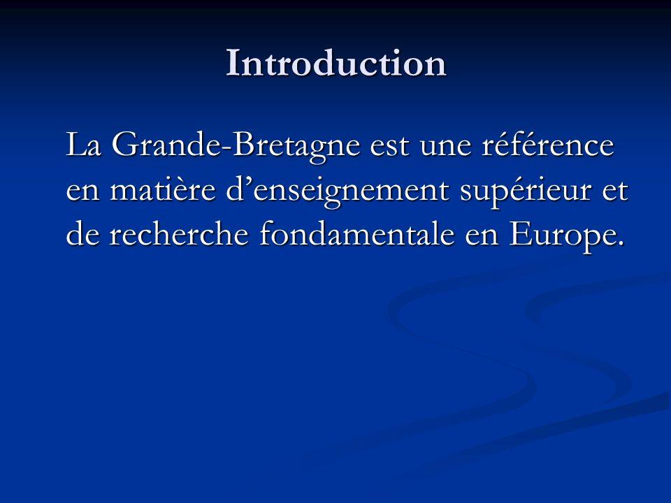 Introduction La Grande-Bretagne est une référence en matière denseignement supérieur et de recherche fondamentale en Europe.