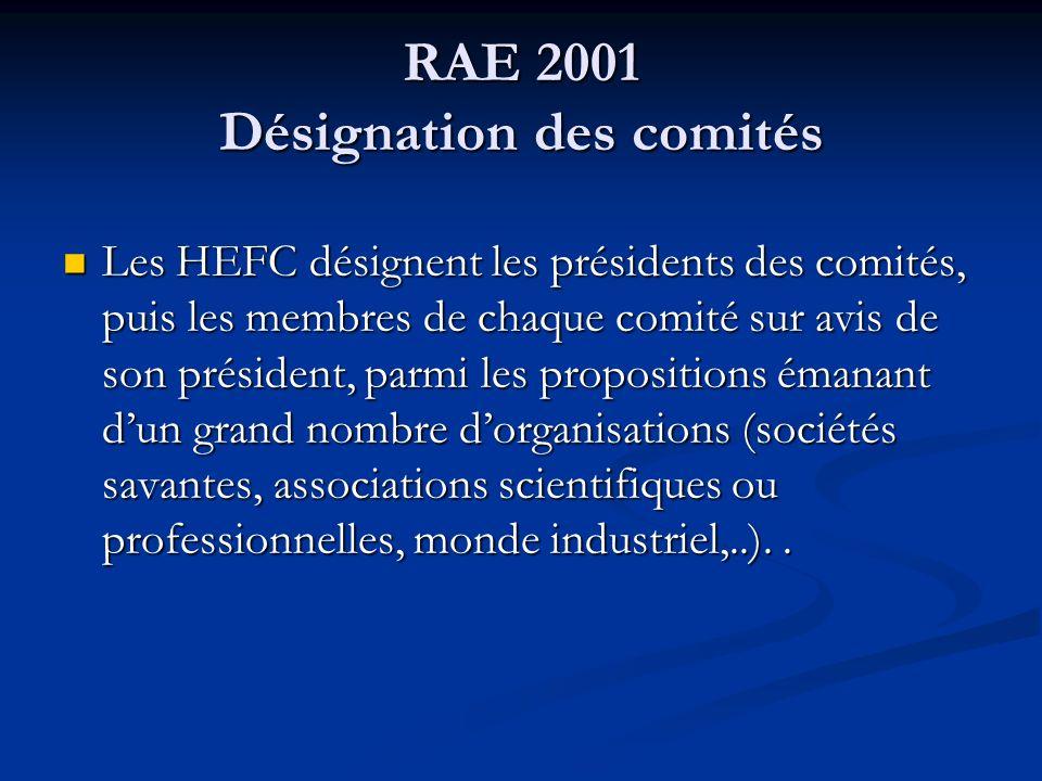 RAE 2001 Désignation des comités Les HEFC désignent les présidents des comités, puis les membres de chaque comité sur avis de son président, parmi les