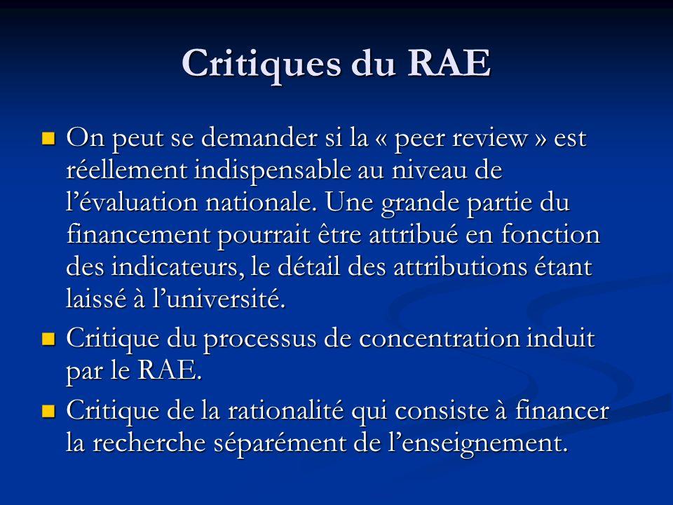 Critiques du RAE On peut se demander si la « peer review » est réellement indispensable au niveau de lévaluation nationale. Une grande partie du finan