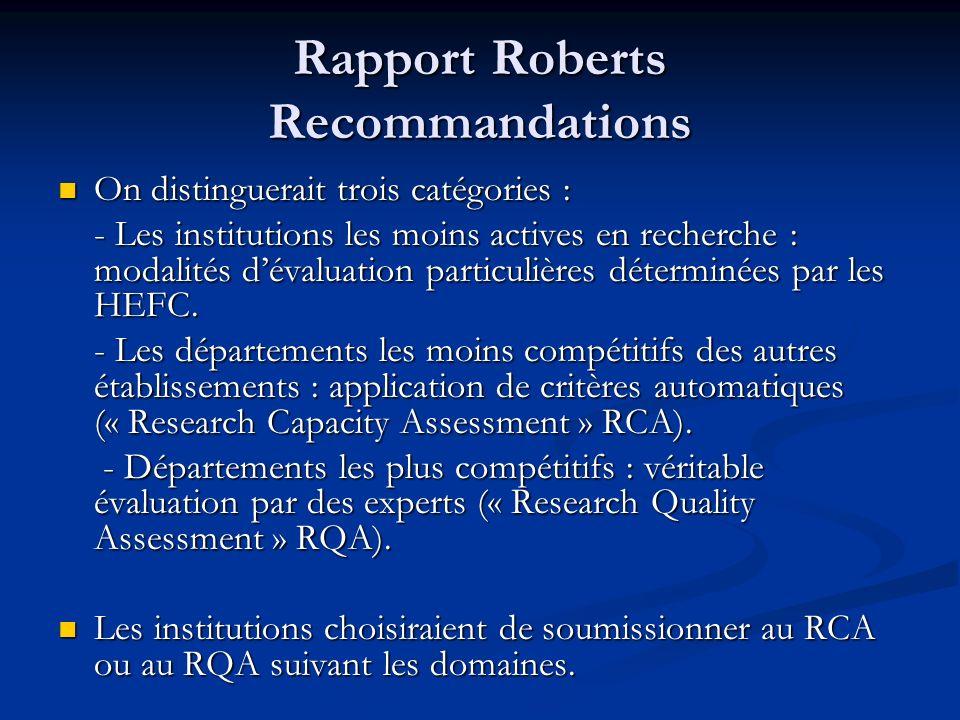 Rapport Roberts Recommandations On distinguerait trois catégories : On distinguerait trois catégories : - Les institutions les moins actives en recher