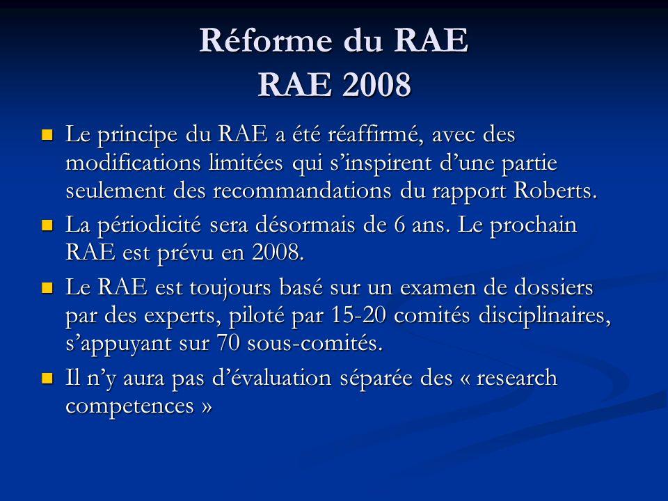 Réforme du RAE RAE 2008 Le principe du RAE a été réaffirmé, avec des modifications limitées qui sinspirent dune partie seulement des recommandations d