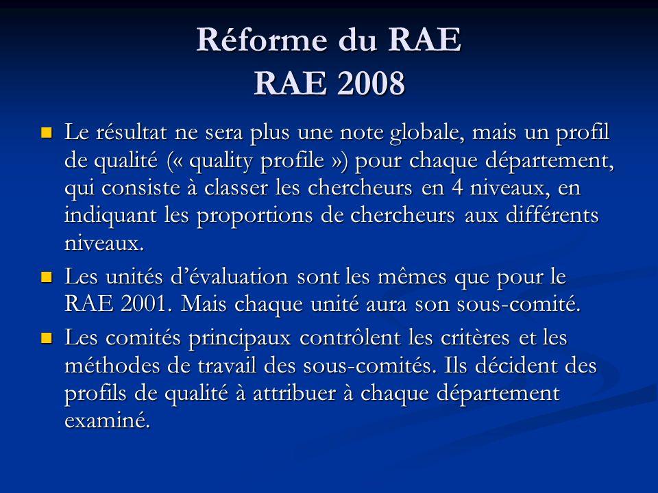 Réforme du RAE RAE 2008 Le résultat ne sera plus une note globale, mais un profil de qualité (« quality profile ») pour chaque département, qui consis