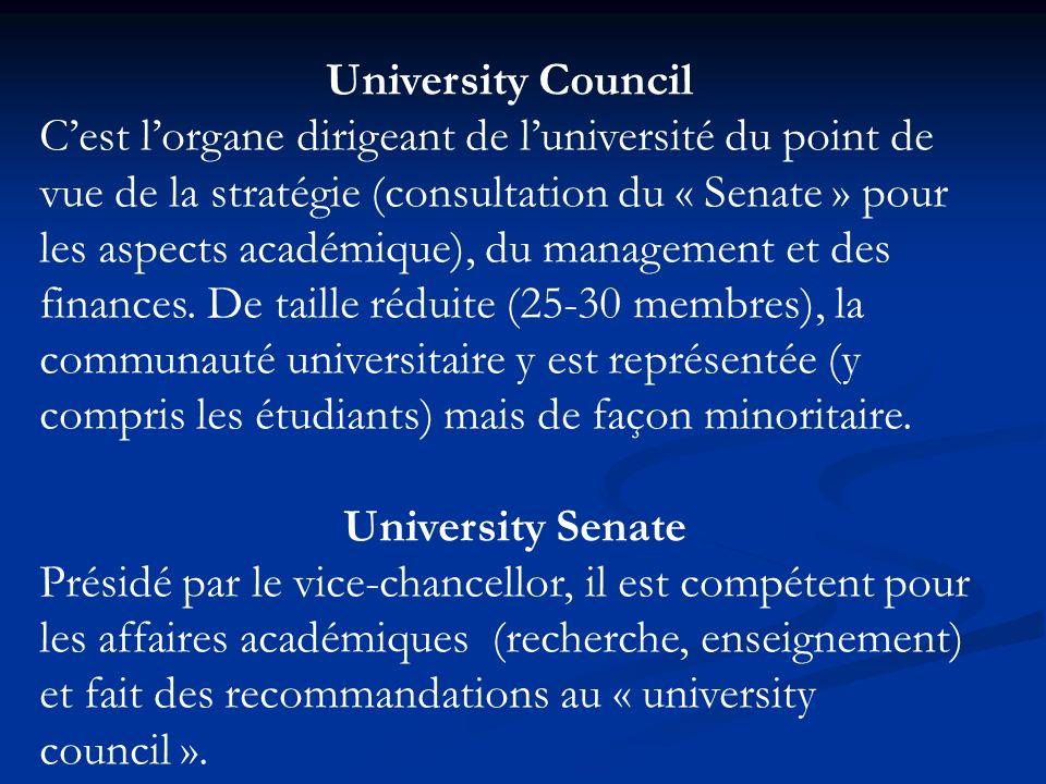 University Council Cest lorgane dirigeant de luniversité du point de vue de la stratégie (consultation du « Senate » pour les aspects académique), du