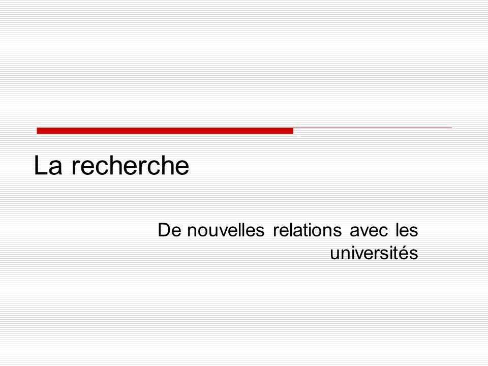 La recherche De nouvelles relations avec les universités